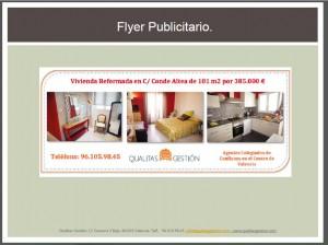 Flyer publicitario e informativo para vender una vivienda en Valencia